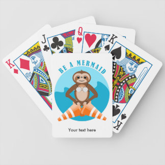 Cute Sloth Be a Mermaid Bicycle Playing Cards