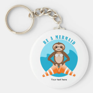 Cute Sloth Be a Mermaid Keychain