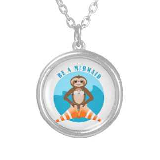 Cute Sloth Be a Mermaid Silver Plated Necklace