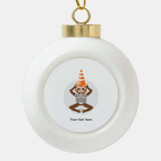 Cute Sloth Be A Unicorn Ceramic Ball Christmas Ornament