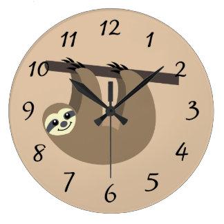 Cute Sloth Cartoon Large Clock