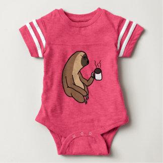 Cute Sloth Drinking Coffee Baby Bodysuit