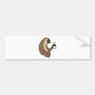 Cute Sloth Drinking Coffee Bumper Sticker