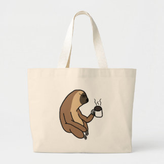 Cute Sloth Drinking Coffee Large Tote Bag