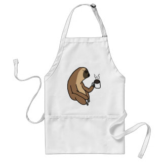 Cute Sloth Drinking Coffee Standard Apron
