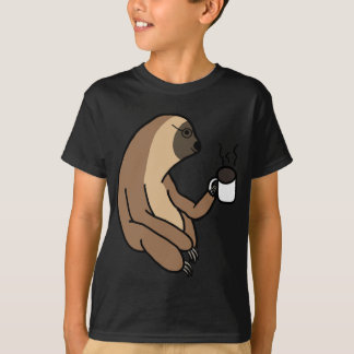 Cute Sloth Drinking Coffee T-Shirt