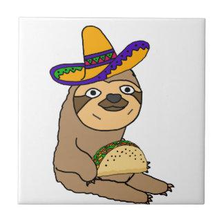 Cute Sloth Eating Taco Original Art Tile