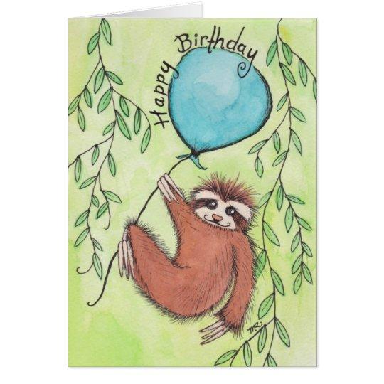 Cute Sloth Happy Birthday Card