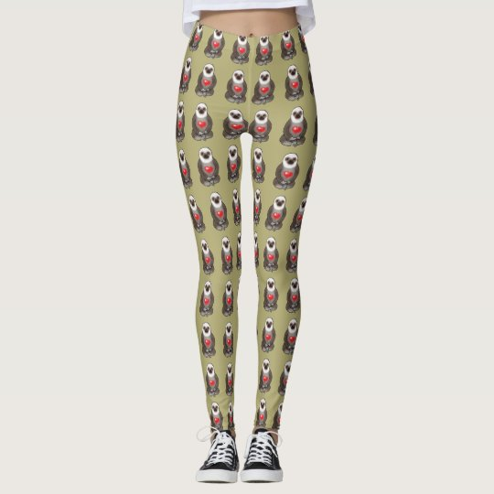 cute sloth in love leggings