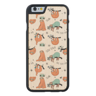 Cute Sloth Pattern Carved® Maple iPhone 6 Case