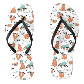 Cute Sloth Pattern Flip Flops