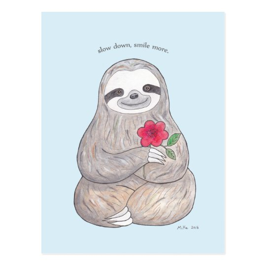 Cute Sloth Postcard Slow Life Advocate Sloth Card