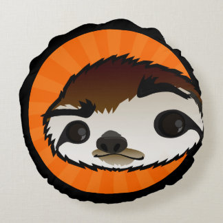 CUTE SLOTH ROUND THROW PILLOW