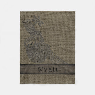Cute Sloth Rustic Burlap Tribal Boho Personalized Fleece Blanket