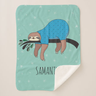 Cute Sloth Sherpa Blanket