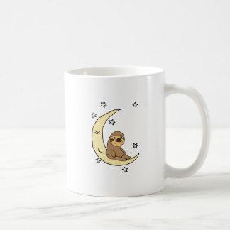 Cute Sloth Sitting on the moon Cartoon Coffee Mug