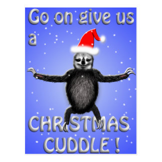 cute sloth wants a christmas cuddle postcard