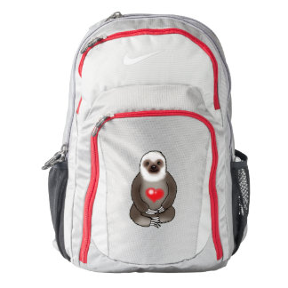 cute sloth with red heart backpack
