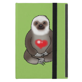 cute sloth with red heart case for iPad mini