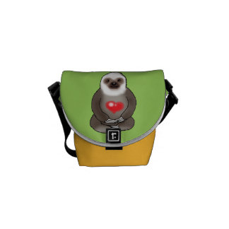 cute sloth with red heart courier bag
