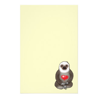 cute sloth with red heart custom stationery