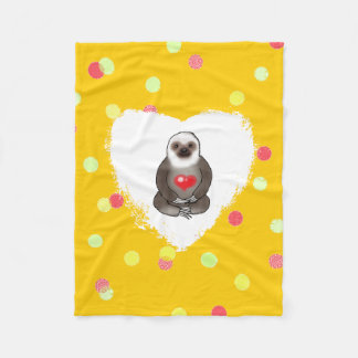 cute sloth with red heart fleece blanket
