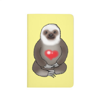cute sloth with red heart journal