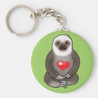 cute sloth with red heart keychain