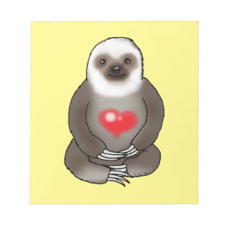 cute sloth with red heart notepad