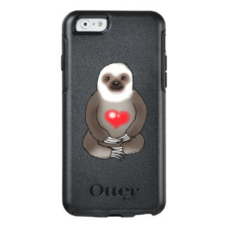 cute sloth with red heart OtterBox iPhone 6/6s case