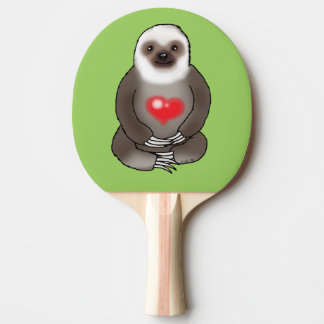 cute sloth with red heart ping pong paddle