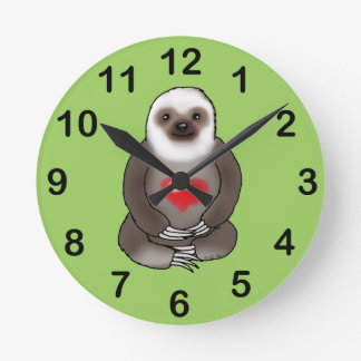 cute sloth with red heart round clock