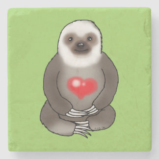 cute sloth with red heart stone coaster