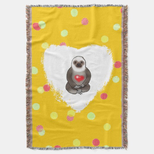 cute sloth with red heart throw blanket