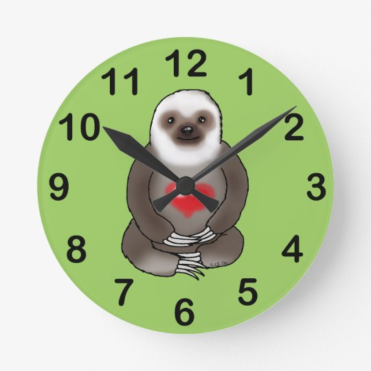 cute sloth with red heart wall clock