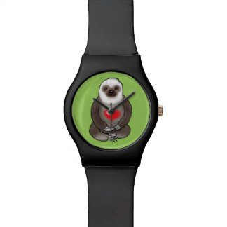 cute sloth with red heart wristwatch