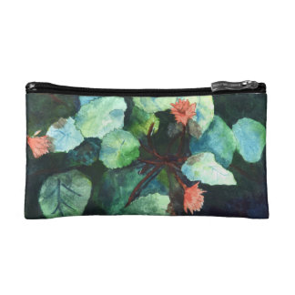 Cute Small Custom Lilies In Water Cosmetic Bag