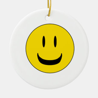 cute smile round ceramic ornament
