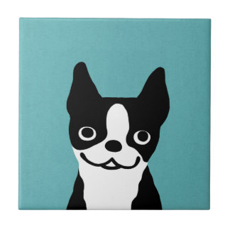 Cute Smiley Boston Terrier Tile