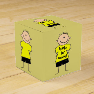 Cute Smiley Boy Stick Figure Favor Box