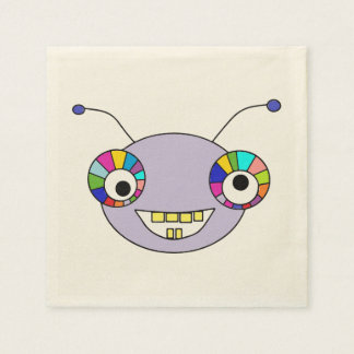 Cute Smiley Cartoon Alien Head Design Paper Napkins