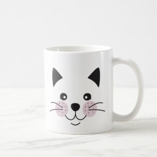 Cute, smiley cat face coffee mug