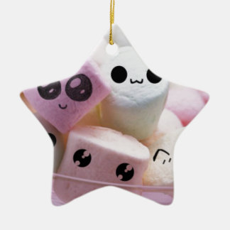 cute smiley face marshmallows ceramic star ornament