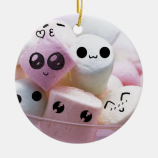 cute smiley face marshmallows round ceramic ornament