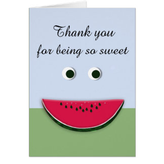 Cute Smiley Face Watermelon Slice Thank You Card