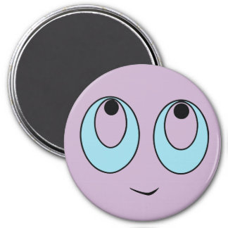 Cute Smiley Face with Big Eyes Round Button Magnet