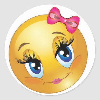 Cute Smiley Face with Bow Round Sticker