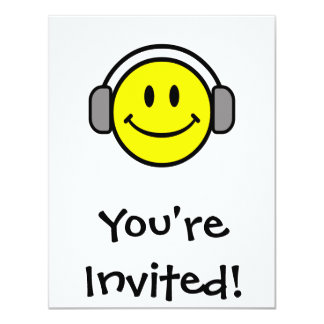 cute smiley face with headphones card