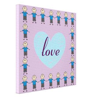 Cute Smiley Stick Boy Figures Blue Heart Love Word Canvas Print