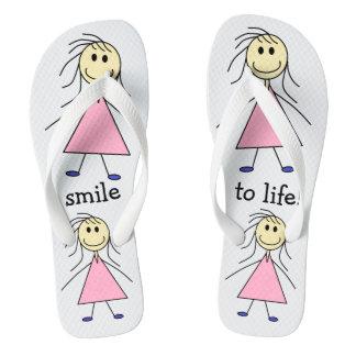Cute Smiley Stick Figure Girls Print Flip Flops